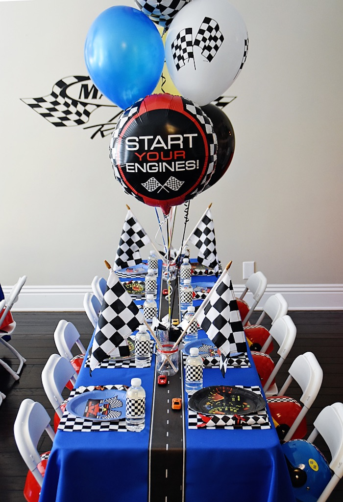 Start your engines guest table from a Race Car Birthday Party on Kara's Party  Ideas |