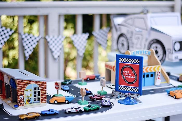 Race track activity table from a Race Car Birthday Party on Kara's Party Ideas | KarasPartyIdeas.com (11)