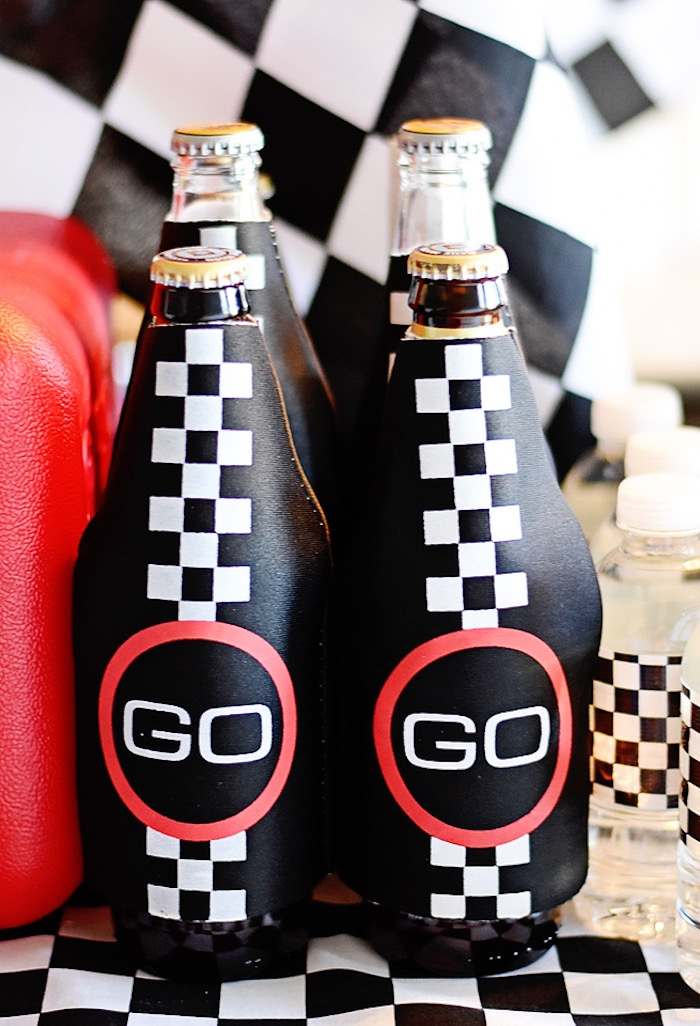 Checkered go flag drink bottles from a Race Car Birthday Party on Kara's Party Ideas | KarasPartyIdeas.com (8)