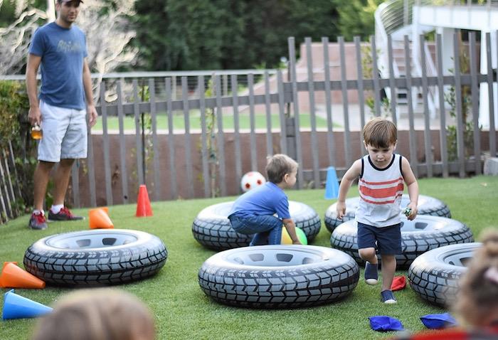 Inflatable tires from a Race Car Birthday Party on Kara's Party Ideas | KarasPartyIdeas.com (3)