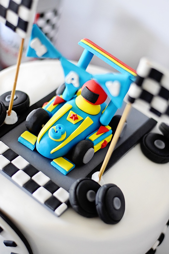 Admirable Karas Party Ideas Mavericks Speedy Race Car Birthday Party Funny Birthday Cards Online Elaedamsfinfo