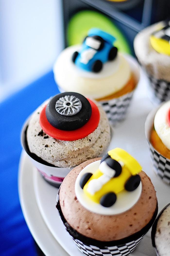 Cupcakes from a Race Car Birthday Party on Kara's Party Ideas | KarasPartyIdeas.com (40)