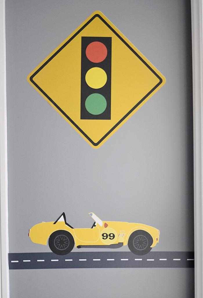 Wall decor from a Race Car Birthday Party on Kara's Party Ideas | KarasPartyIdeas.com (39)
