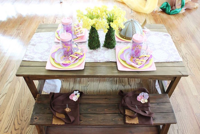 Guest table from a Rapunzel Birthday Party on Kara's Party Ideas | KarasPartyIdeas.com (16)