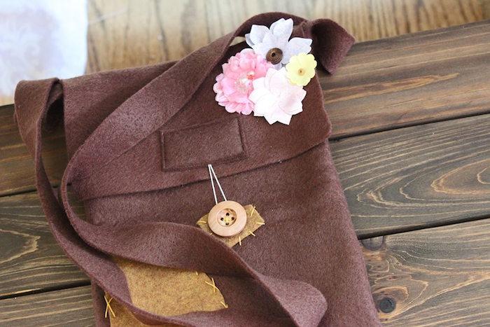Felt satchel from a Rapunzel Birthday Party on Kara's Party Ideas | KarasPartyIdeas.com (14)