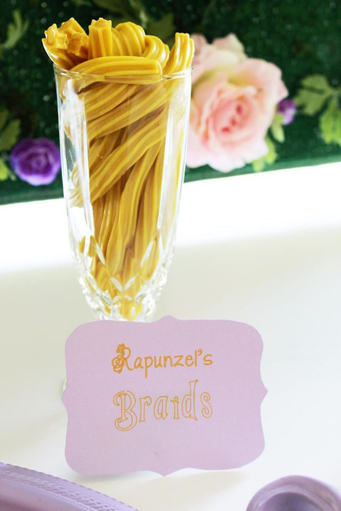 Rapunzel braid licorice from a Rapunzel Birthday Party on Kara's Party Ideas | KarasPartyIdeas.com (27)
