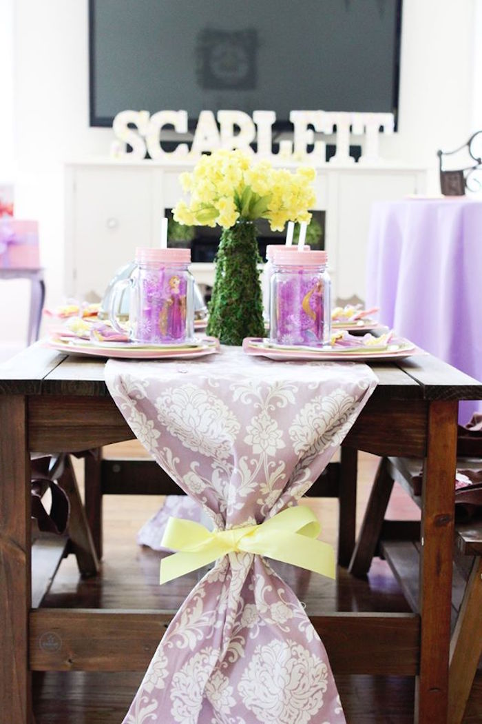 Guest tablescape from a Rapunzel Birthday Party on Kara's Party Ideas | KarasPartyIdeas.com (23)