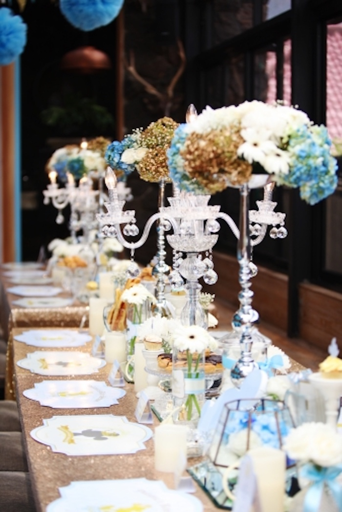Ornate floral centerpieces from a Royal Mickey Mouse Baby Shower on Kara's Party Ideas | KarasPartyIdeas.com (14)