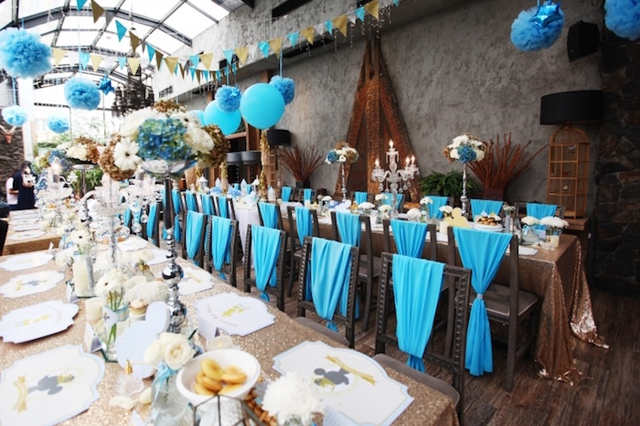Guest tables from a Royal Mickey Mouse Baby Shower on Kara's Party Ideas | KarasPartyIdeas.com (9)