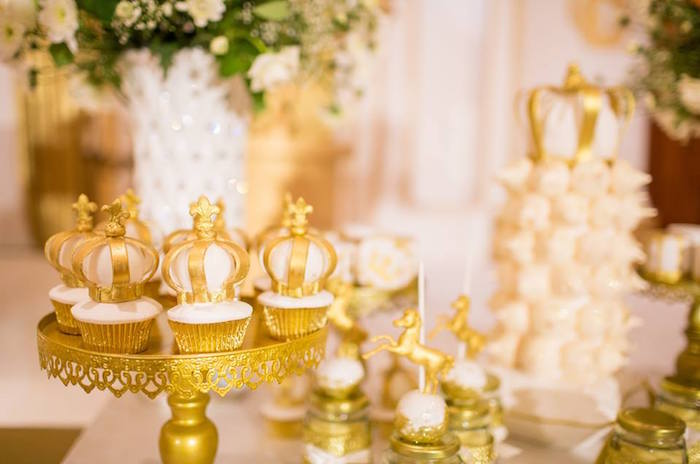 Crown-topped cupcakes from a Royal Prince 1st Birthday Party on Kara's Party Ideas | KarasPartyIdeas.com (18)