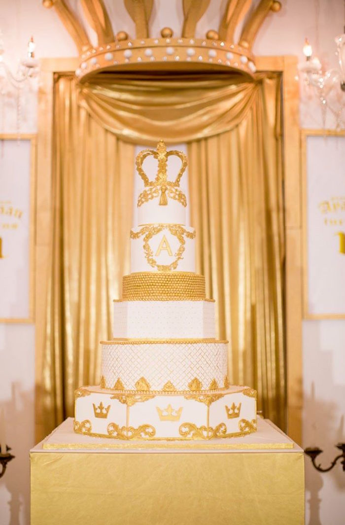 Royal crown cake from a Royal Prince 1st Birthday Party on Kara's Party Ideas | KarasPartyIdeas.com (14)