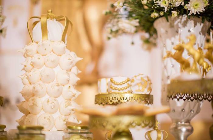 Meringue tower + marshmallows from a Royal Prince 1st Birthday Party on Kara's Party Ideas | KarasPartyIdeas.com (10)