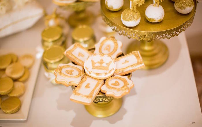 Sugar cookies from a Royal Prince 1st Birthday Party on Kara's Party Ideas | KarasPartyIdeas.com (9)
