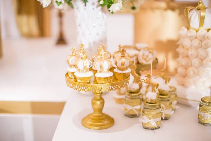 Crown-topped cupcakes and favor jars from a Royal Prince 1st Birthday Party on Kara's Party Ideas | KarasPartyIdeas.com (7)