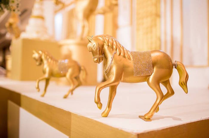 Gold stallions from a Royal Prince 1st Birthday Party on Kara's Party Ideas | KarasPartyIdeas.com (28)