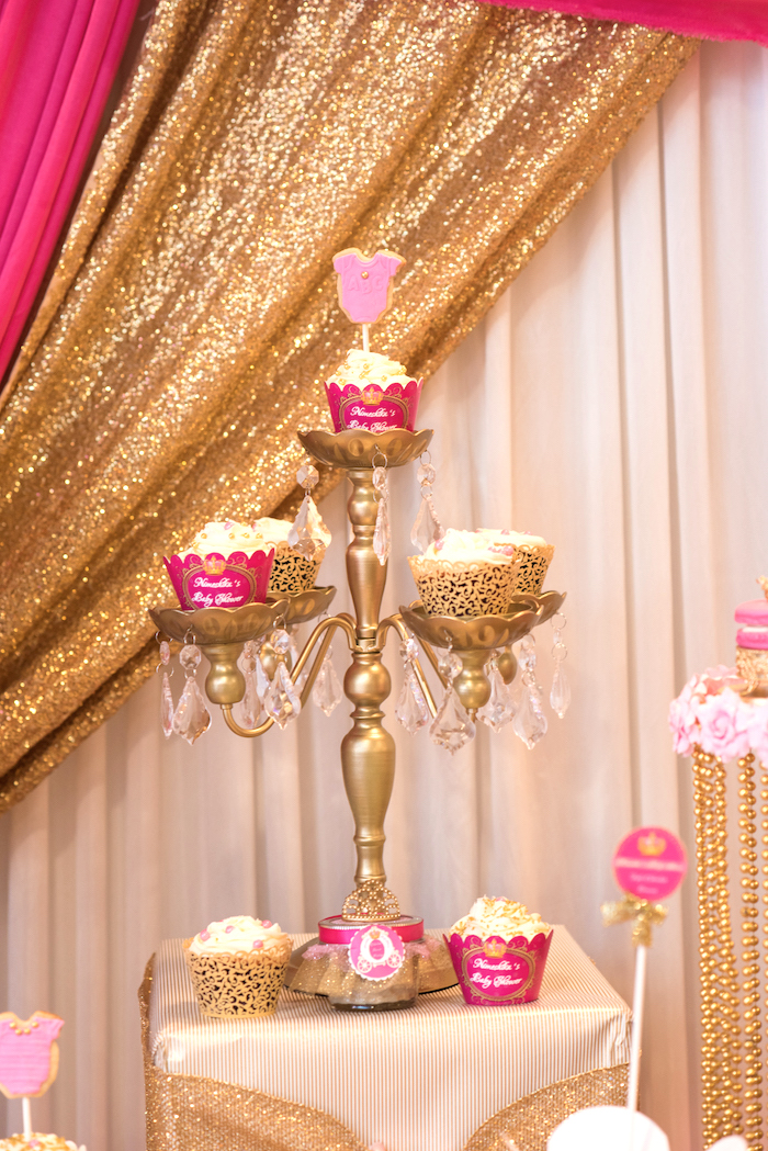 Spectacular Cupcakes set atop a chandelier cupcake pedestal from a Royal Princess Baby Shower on Kara us Party