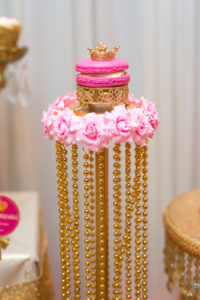 Hot pink macaron on a gold beaded pedestal from a Royal Princess Baby Shower on Kara's Party Ideas | KarasPartyIdeas.com (12)