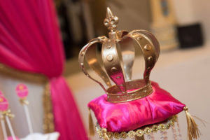Gold crown on a pink pillow pedestal from a Royal Princess Baby Shower on Kara's Party Ideas | KarasPartyIdeas.com (10)