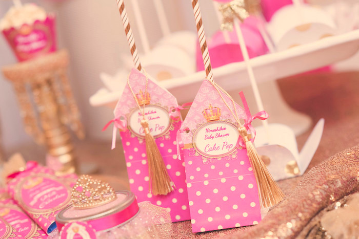 Custom cake pop favors from a Royal Princess Baby Shower on Kara's Party Ideas | KarasPartyIdeas.com (8)