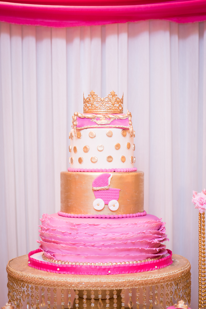 Pink princess cake from a Royal Princess Baby Shower on Kara's Party Ideas | KarasPartyIdeas.com (6)