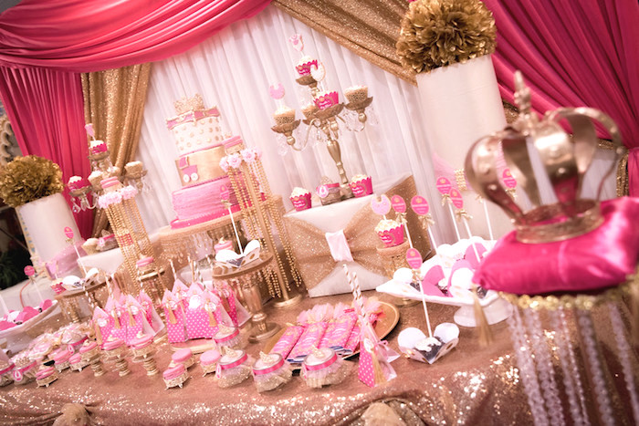 Dessert tablescape from a Royal Princess Baby Shower on Kara's Party Ideas | KarasPartyIdeas.com (24)