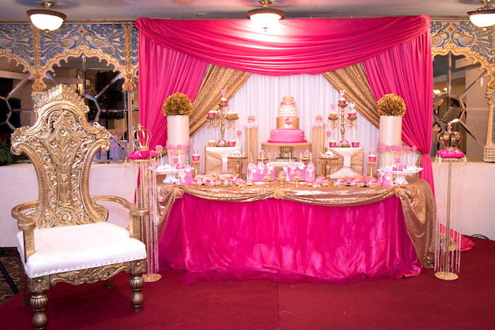 Kara 39 s party ideas royal princess baby shower kara 39 s for Baby shower party hall decoration ideas