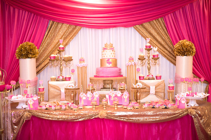 Dessert spread from a Royal Princess Baby Shower on Kara's Party Ideas | KarasPartyIdeas.com (22)