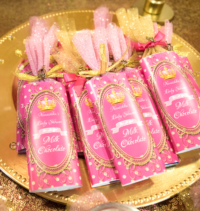 Custom chocolate bar favors from a Royal Princess Baby Shower on Kara's Party Ideas | KarasPartyIdeas.com (20)