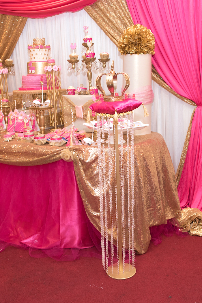 Royal Crown On A Beaded Pedestal Stand From A Royal Princess Baby Shower On  Karau0027s Party