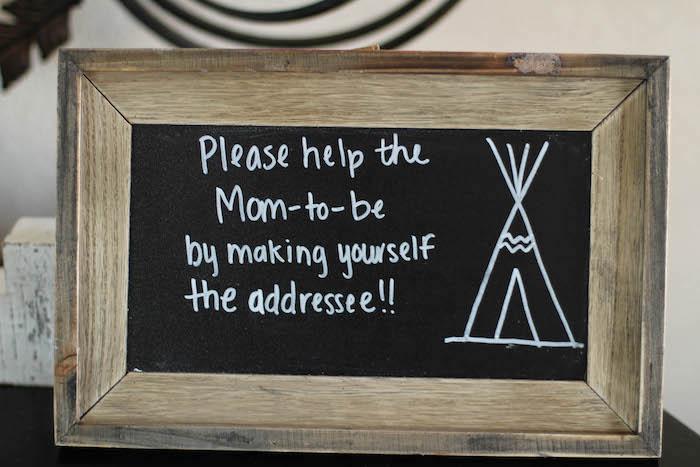 Rustic chalkboard sign from a Rustic Boho Boy Baby Shower on Kara's Party Ideas | KarasPartyIdeas.com (10)