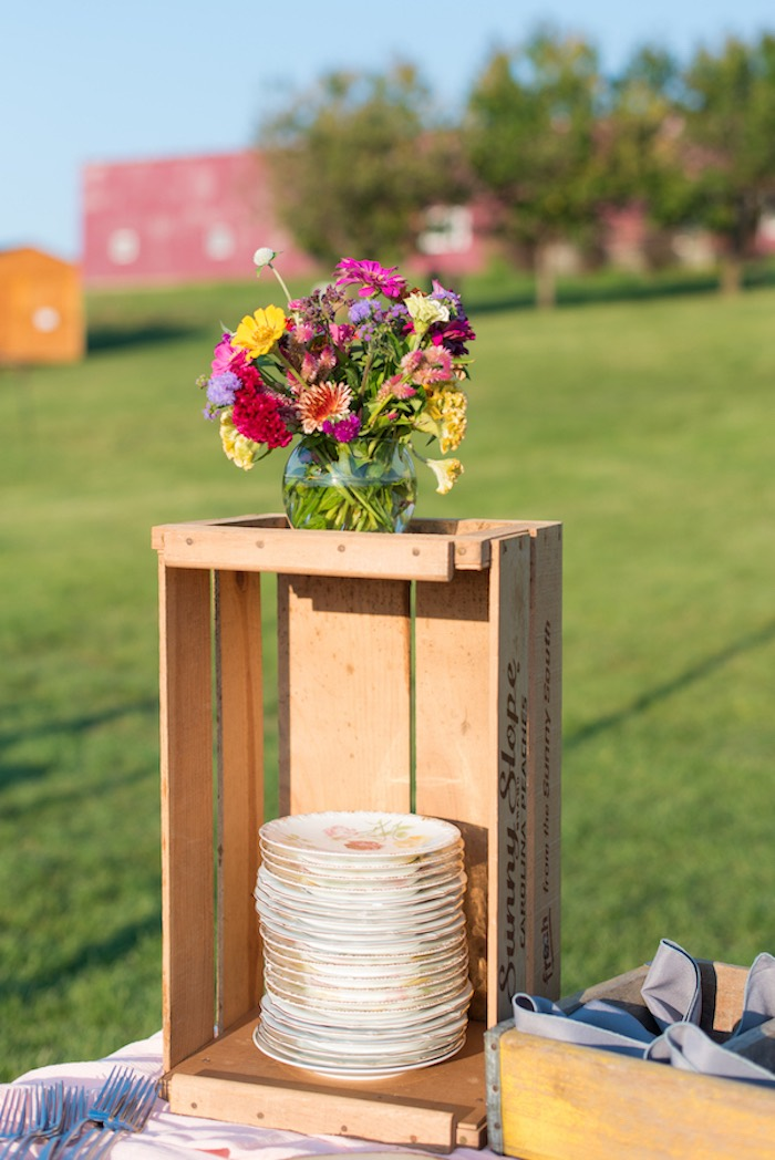 Pie plates stacked in a wooden crate from a Rustic, Elegant Farm-to-Table Party on Kara's Party Ideas | KarasPartyIdeas.com (21)