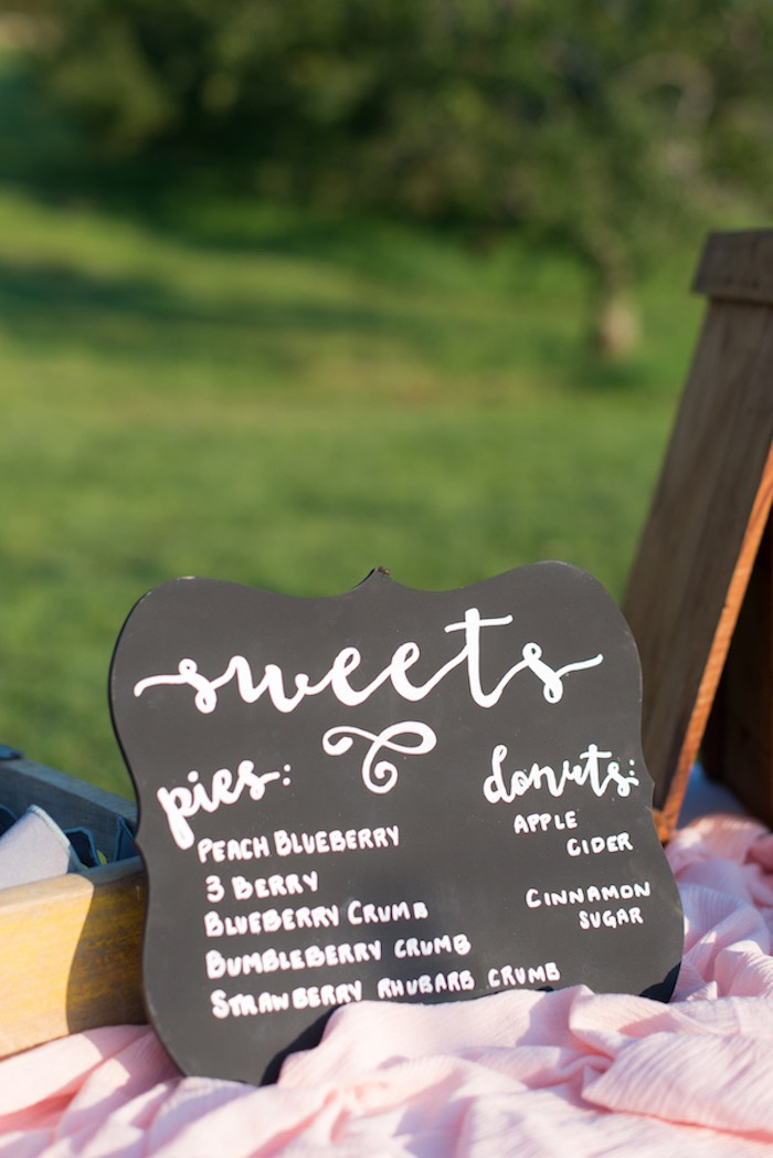 "Chalkboard ""sweets"" menu from a Rustic, Elegant Farm-to-Table Party on Kara's Party Ideas 