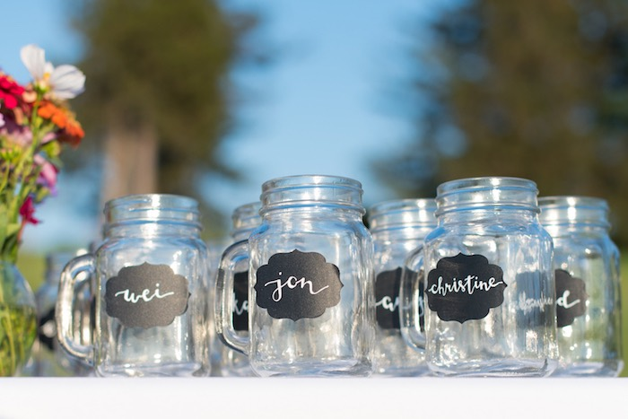 Personalized mason jar cups from a Rustic, Elegant Farm-to-Table Party on Kara's Party Ideas | KarasPartyIdeas.com (18)