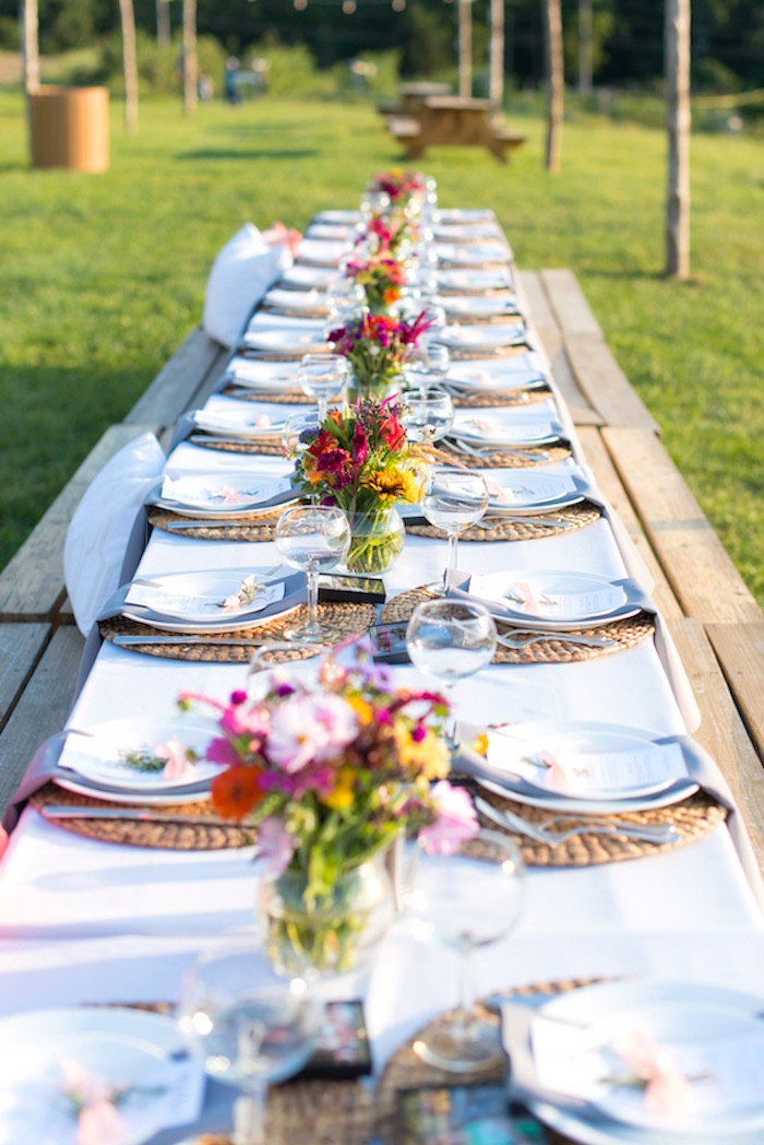 Dining tablescape from a Rustic, Elegant Farm-to-Table Party on Kara's Party Ideas | KarasPartyIdeas.com (16)