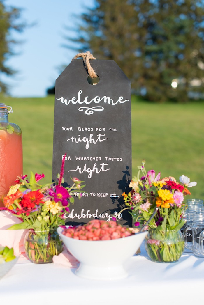 Chalkboard beverage menu sign from a Rustic, Elegant Farm-to-Table Party on Kara's Party Ideas | KarasPartyIdeas.com (14)