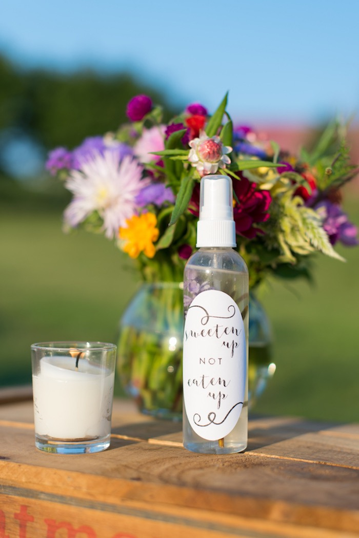 Bug spray from a Rustic, Elegant Farm-to-Table Party on Kara's Party Ideas | KarasPartyIdeas.com (13)