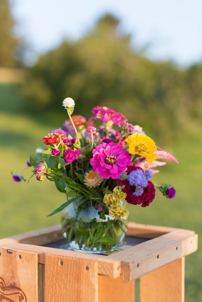 Wildflower floral arrangement from a Rustic, Elegant Farm-to-Table Party on Kara's Party Ideas | KarasPartyIdeas.com (9)