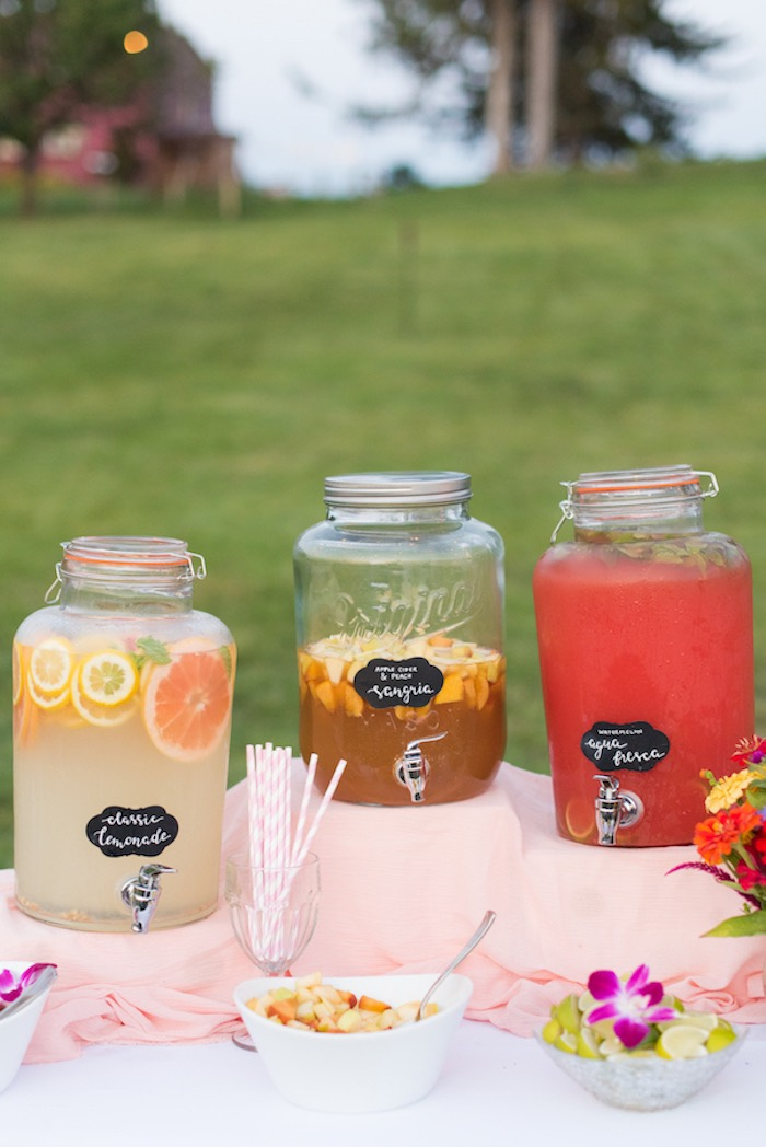 Chalkboard-labeled beverage dispensers from a Rustic, Elegant Farm-to-Table Party on Kara's Party Ideas | KarasPartyIdeas.com (3)