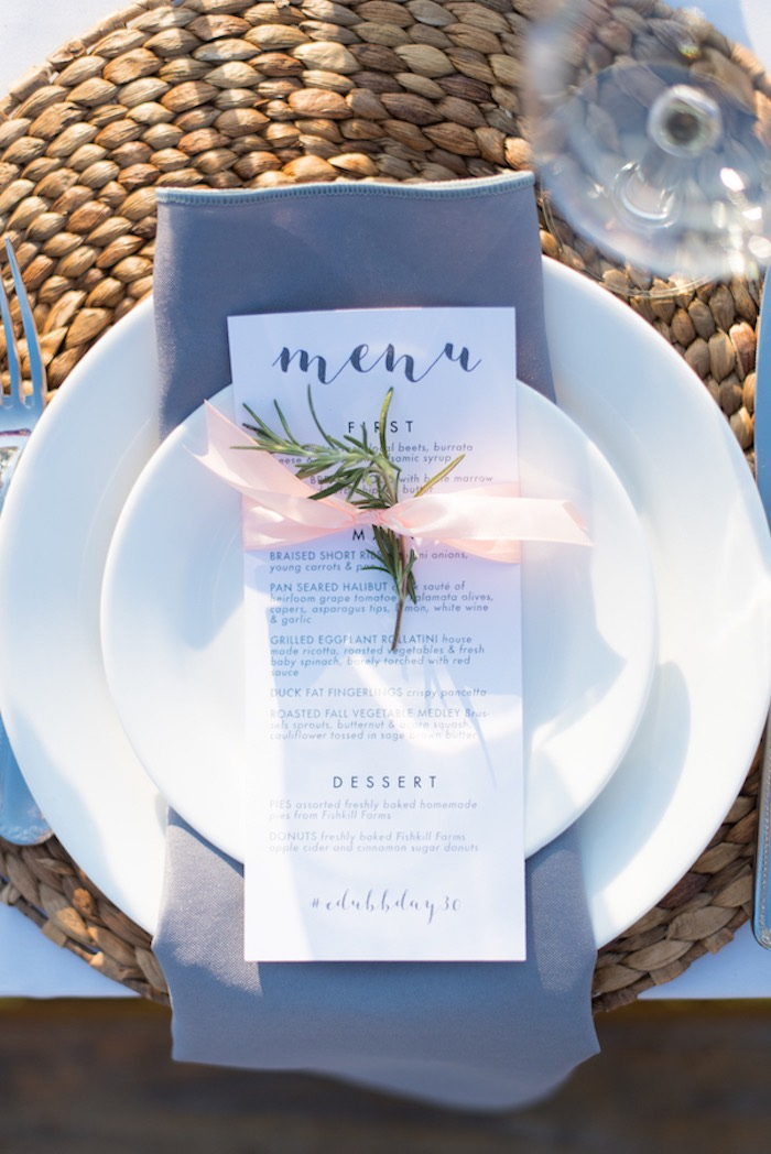 Sprig tied menu card from a Rustic, Elegant Farm-to-Table Party on Kara's Party Ideas | KarasPartyIdeas.com (26)