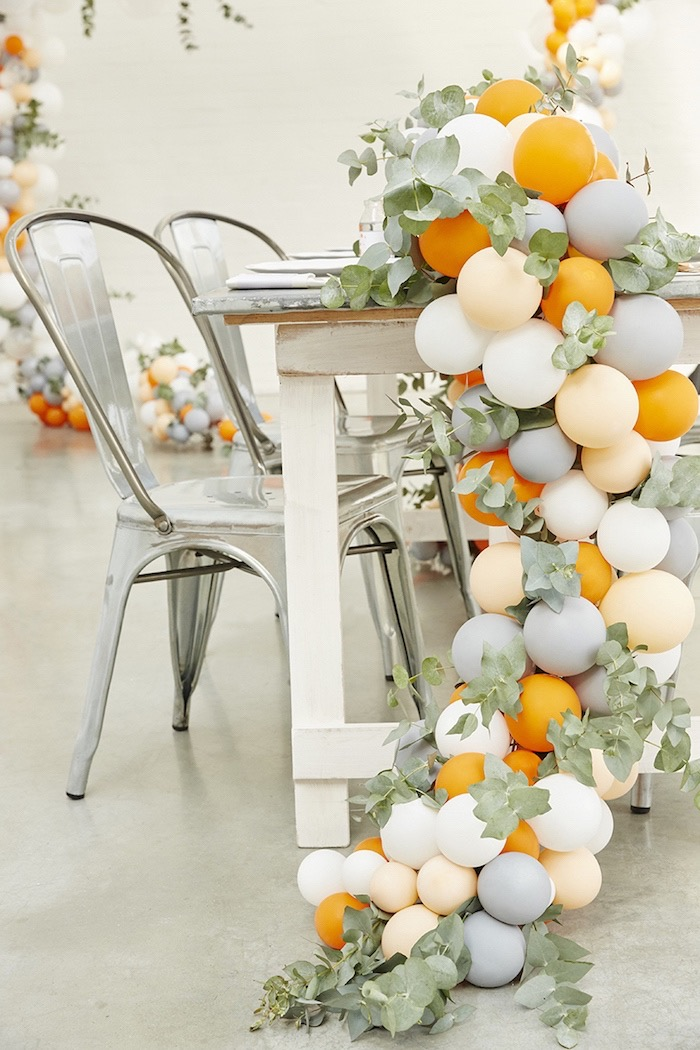 Balloon garland centerpiece from a Rustic Modern Fox Woodland Party on Kara's Party Ideas | KarasPartyIdeas.com (7)
