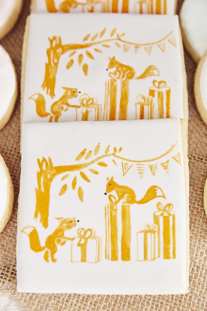 Hand-painted woodland fox cookies from a Rustic Modern Woodland Party on Kara's Party Ideas | KarasPartyIdeas.com