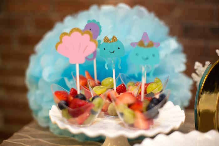 Under the sea fruit cups from a Shimmering Mermaid Birthday Party on Kara's Party Ideas | KarasPartyIdeas.com (26)