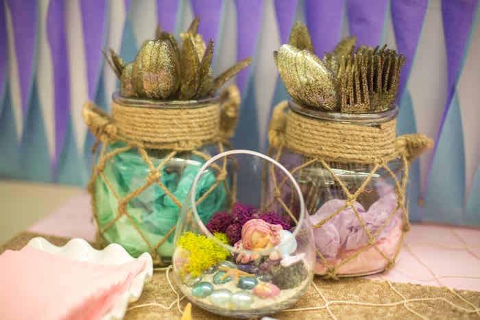 Terrarium jars from a Shimmering Mermaid Birthday Party on Kara's Party Ideas | KarasPartyIdeas.com (21)