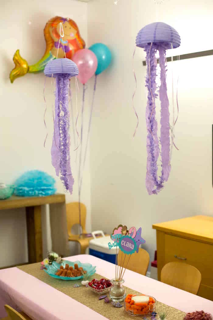 Paper lantern jelly fish decorations from a Shimmering Mermaid Birthday Party on Kara's Party Ideas | KarasPartyIdeas.com (19)
