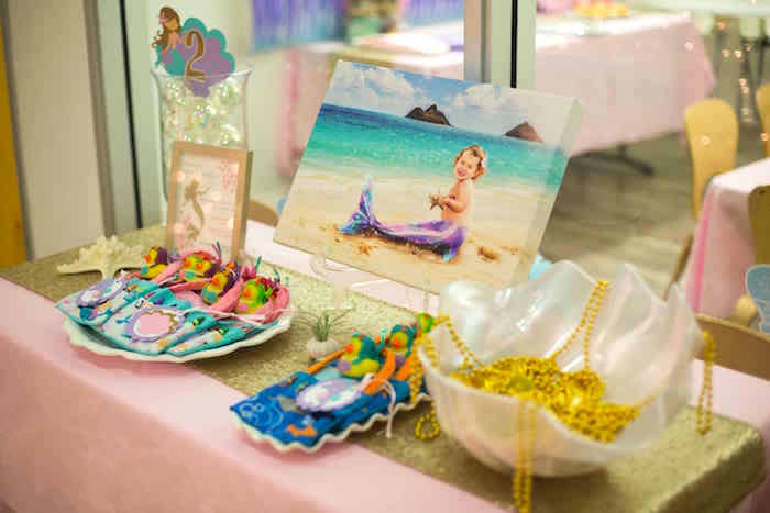 Mermaid favor table from a Shimmering Mermaid Birthday Party on Kara's Party Ideas | KarasPartyIdeas.com (18)
