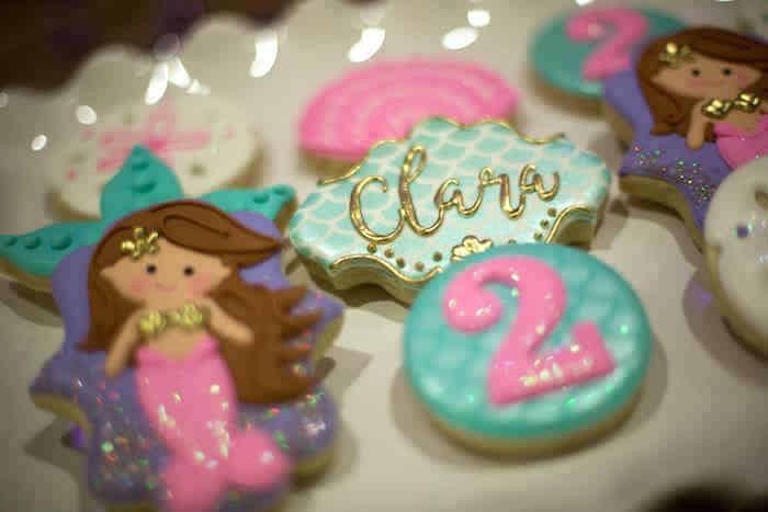 Custom mermaid scale name cookie from a Shimmering Mermaid Birthday Party on Kara's Party Ideas | KarasPartyIdeas.com (15)