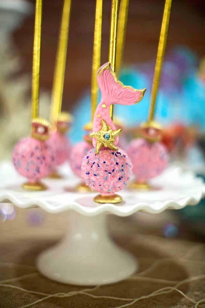 Mermaid cake pops from a Shimmering Mermaid Birthday Party on Kara's Party Ideas | KarasPartyIdeas.com (14)