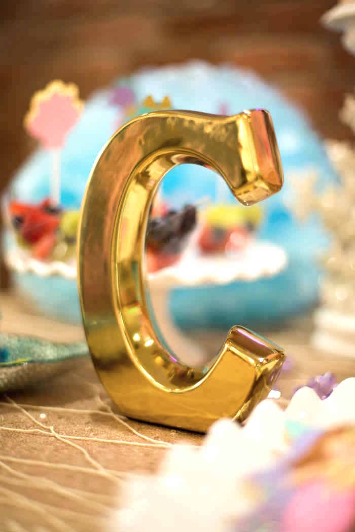 Gold block letter from a Shimmering Mermaid Birthday Party on Kara's Party Ideas | KarasPartyIdeas.com (13)