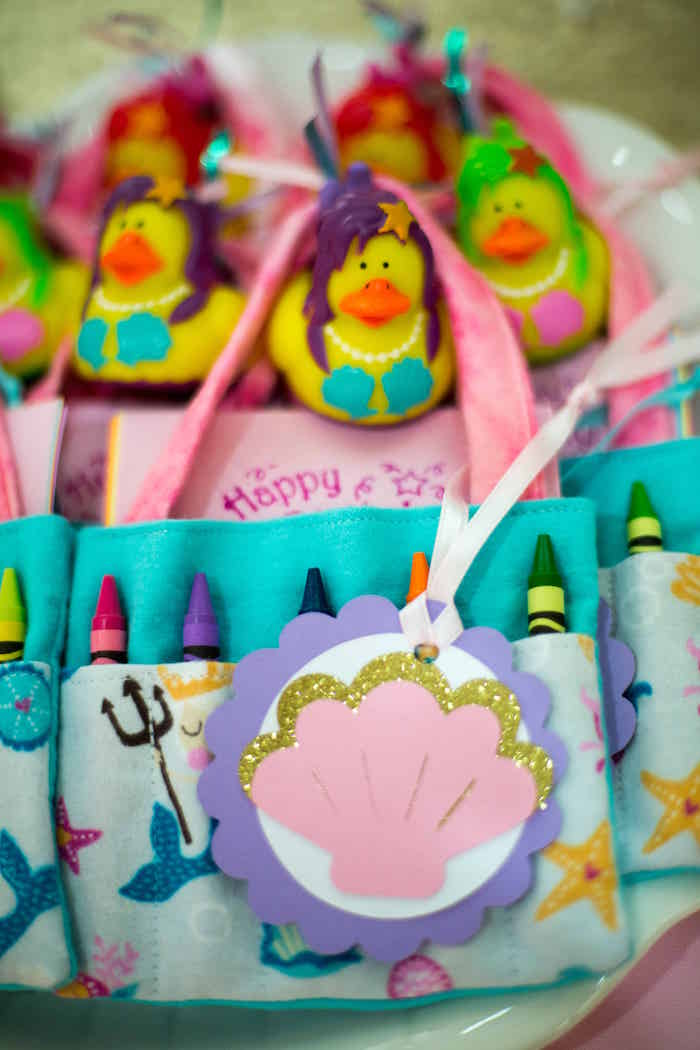 Crayon goodie bags from a Shimmering Mermaid Birthday Party on Kara's Party Ideas | KarasPartyIdeas.com (8)
