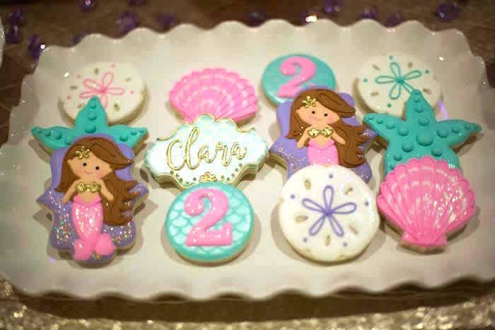 Mermaid & sea shell cookies from a Shimmering Mermaid Birthday Party on Kara's Party Ideas | KarasPartyIdeas.com (33)